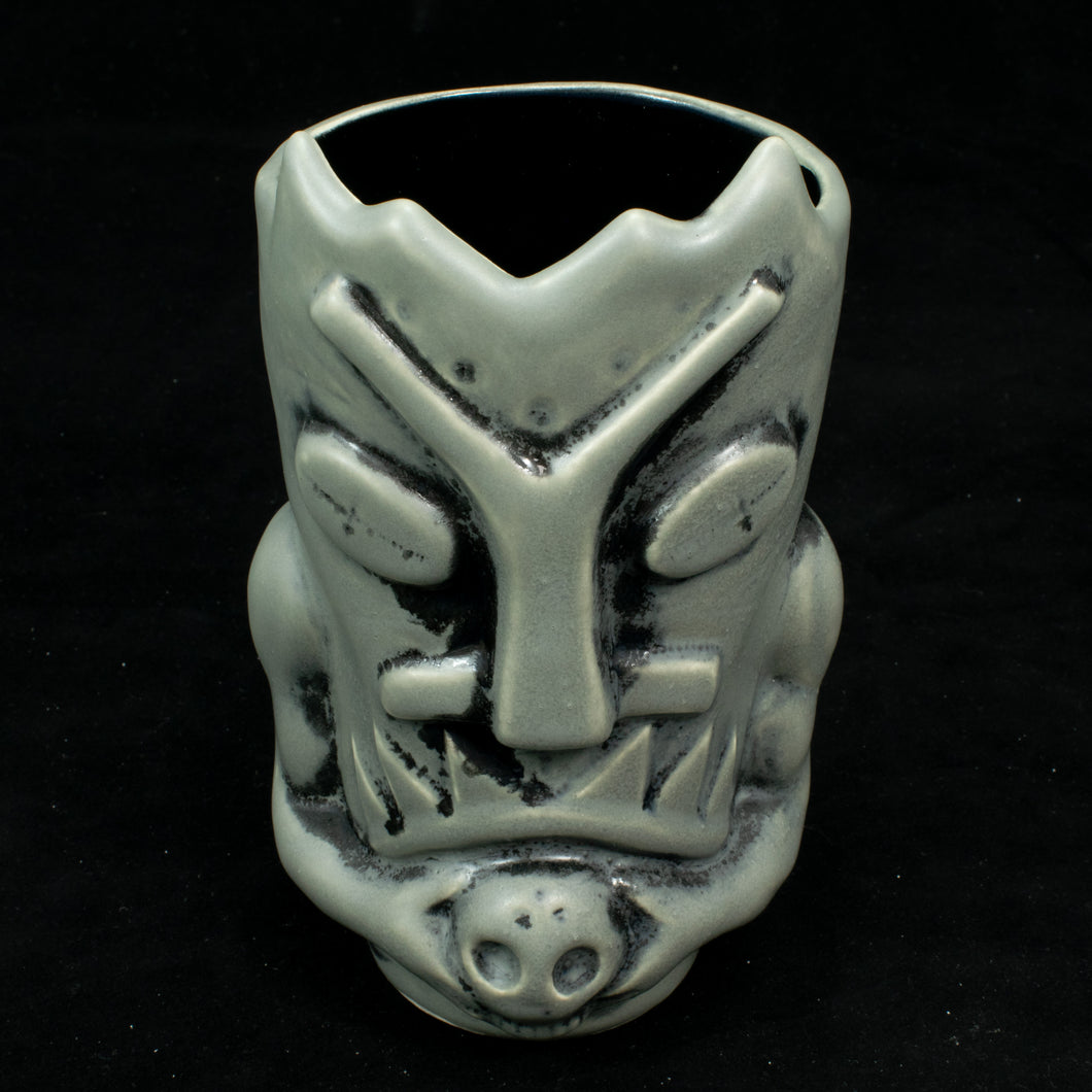 Terrible Tiki Mug, Grey and Black Wipe Away with Teal Interior