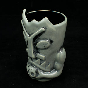 Terrible Tiki Mug, Grey and Black Wipe Away with Black Interior