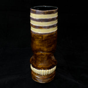 Toothy Tiki Mug, Two Color Mineral Brown and Oyster Shell