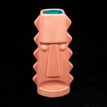 Load image into Gallery viewer, Tall Spiky Tiki Mug, Matte Flamingo Pink with Teal