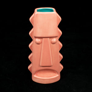 Tall Spiky Tiki Mug, Matte Flamingo Pink with Teal