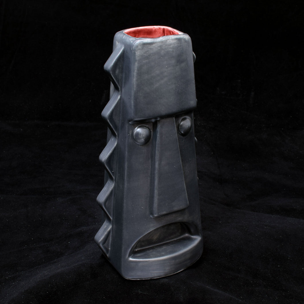 Tall Spiky Tiki Mug, Matte Dark Grey with Red
