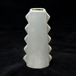 Tall Spiky Tiki Mug, Matte Stingray Grey with Green