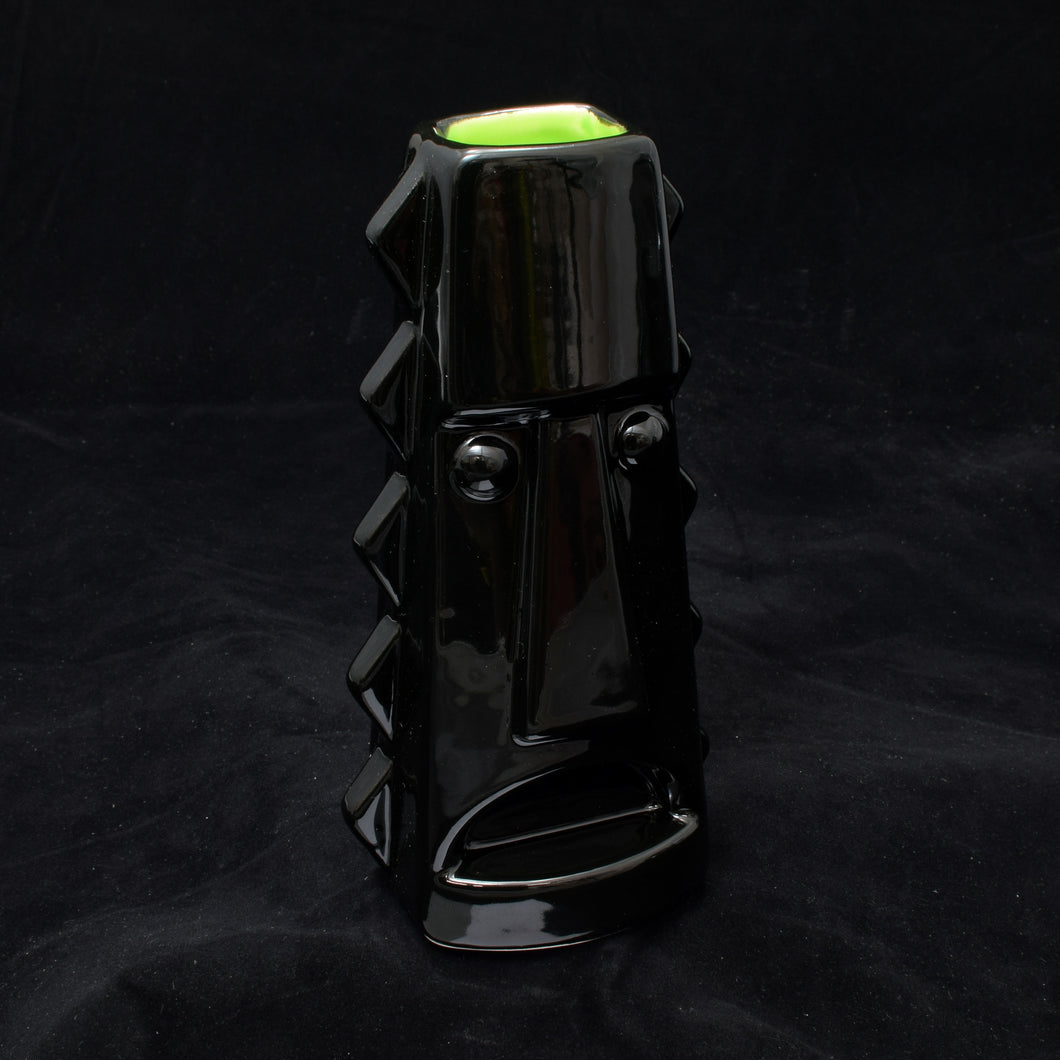 Tall Spiky Tiki Mug, Gloss Black with Lime Green