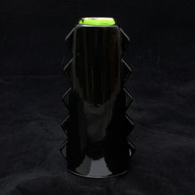 Load image into Gallery viewer, Tall Spiky Tiki Mug, Gloss Black with Lime Green