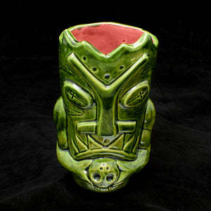 Terrible Tiki Mug, Gloss Green with Red