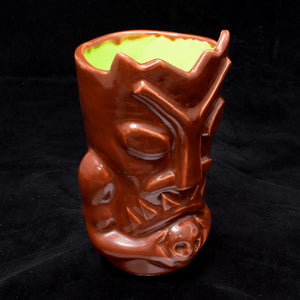 Terrible Tiki Mug, Blood Red with Lime Green