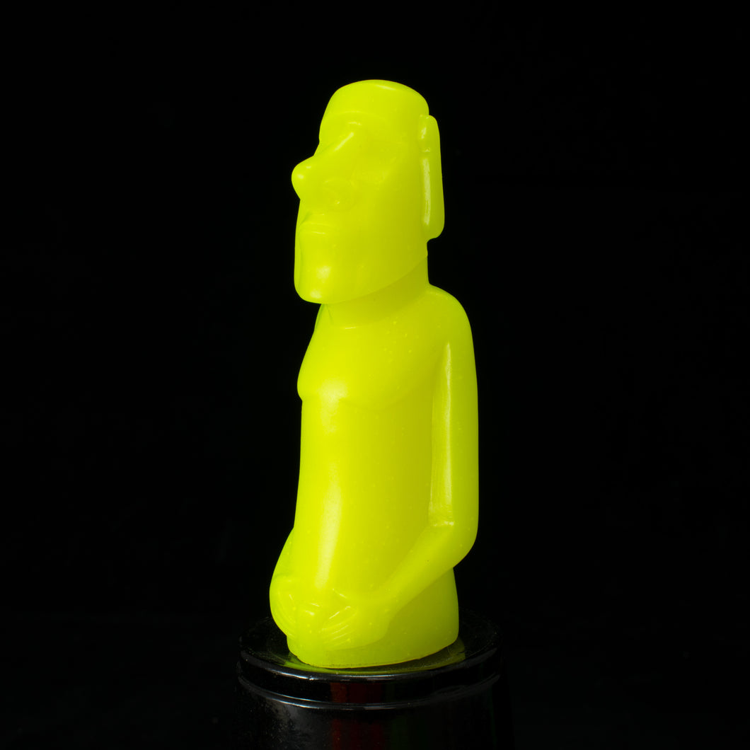 Mini Moai Figure, NEON Yellow Opaque