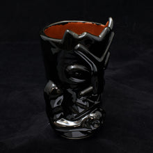 Load image into Gallery viewer, Terrible Tiki Mug, Gloss Black with Blood Red