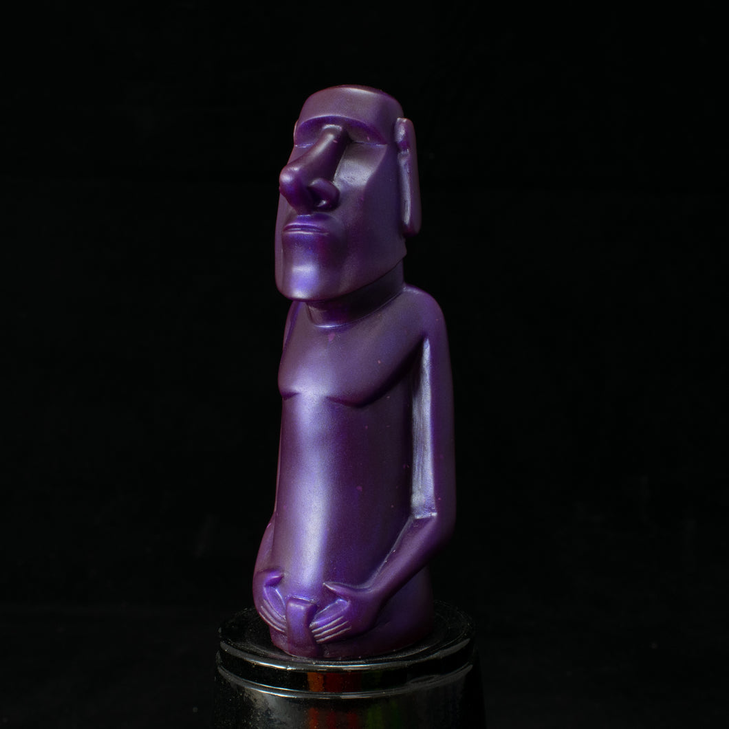 Mini Moai Figure, Purple Blue Pearl