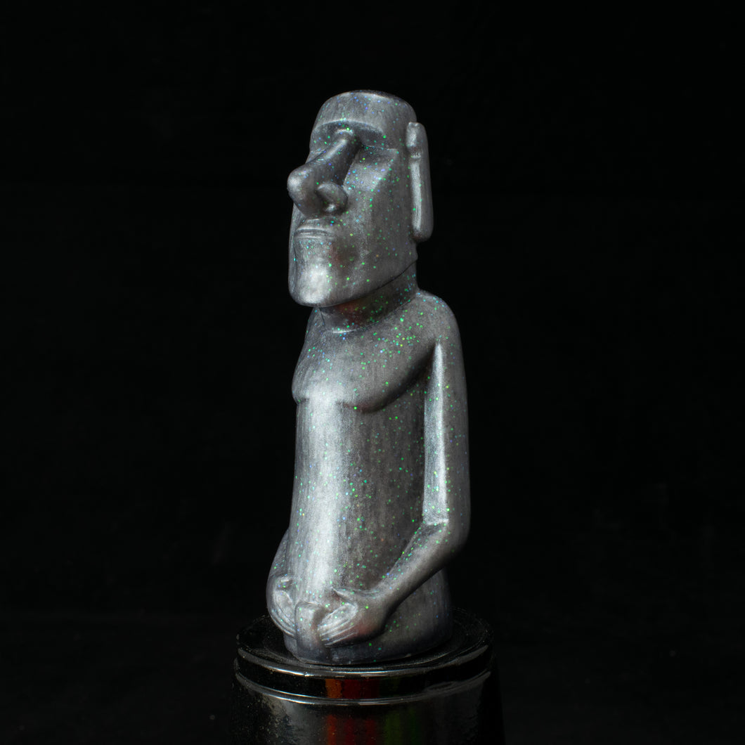 Mini Moai Figure, Silver Green Glitter