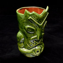 Load image into Gallery viewer, Terrible Tiki Mug, Gloss Green with Brick Red