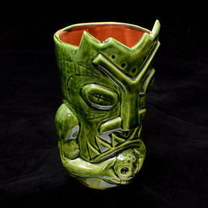 Terrible Tiki Mug, Gloss Green with Brick Red