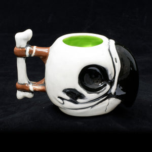 Parrot Skull Tiki Mug, Gloss with Green