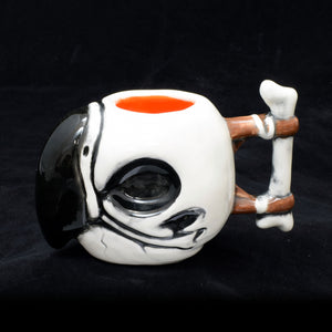 Parrot Skull Tiki Mug, Gloss with Orange