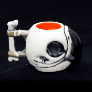 Parrot Skull Tiki Mug, Matte with Orange