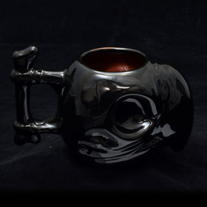 Parrot Skull Tiki Mug, Gloss Black with Blood Red