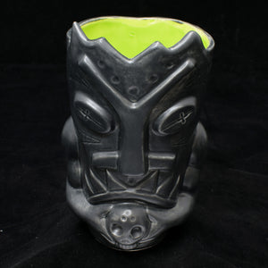 Terrible Tiki Mug, Matte Grey with Lime Green