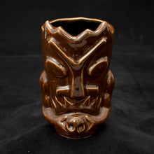 Load image into Gallery viewer, Terrible Tiki Mug, Gloss Walnut Brown with Black
