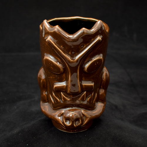 Terrible Tiki Mug, Gloss Walnut Brown with Black