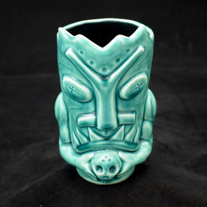 Terrible Tiki Mug, Translucent Teal with Black
