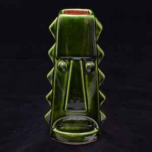 Tall Spiky Tiki Mug, Green with Brick Red