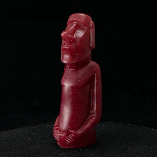 Mini Moai Figure, Red Holo Glitter