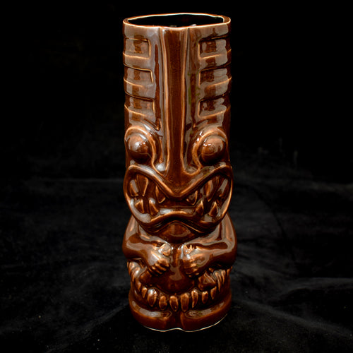 Toothy Tiki Mug, Walnut Brown Gloss Glaze