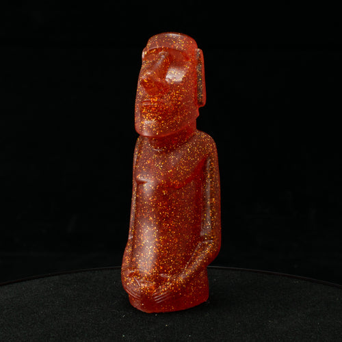 Mini Moai Figure, Valencia Gold Glitter