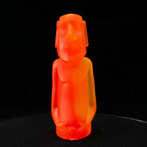 Mini Moai Figure, Neon Red and Yellow Swirl