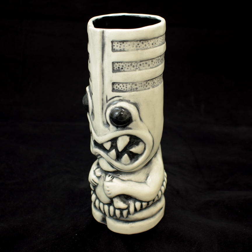 Toothy Tiki Mug, White Brush Off Gloss Glaze