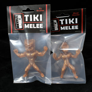 Tiki Melee Ku Crusher and Moai Mauler One Off Pair, Root Beer Gold Pearl