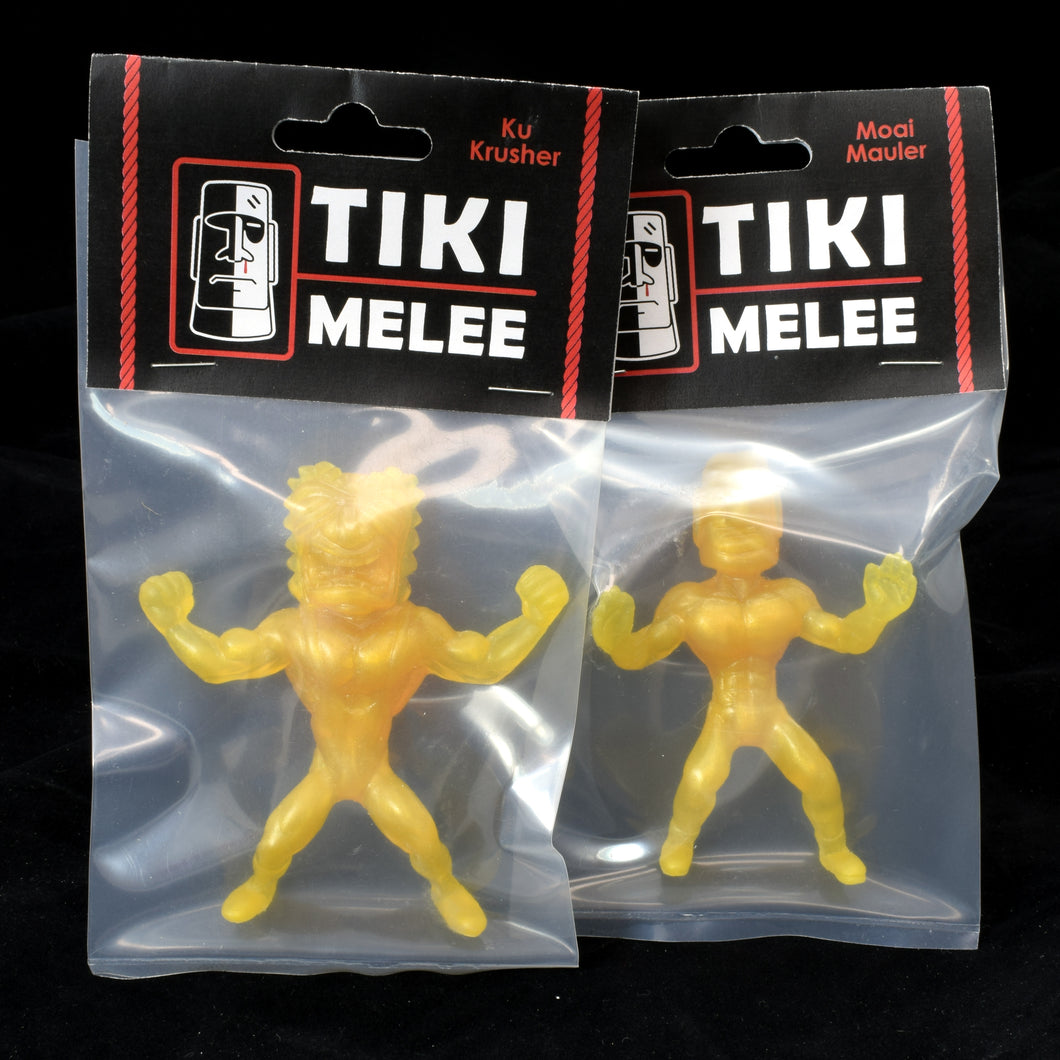 Tiki Melee Ku Crusher and Moai Mauler One Off Pair, Lemon Pearl