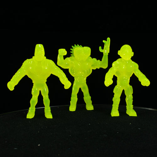 Tiki Melee T.I.K.I. Series 2 figures, Set of 3, UV Neon Yellow