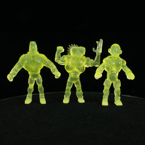 Tiki Melee T.I.K.I. Series 2 figures, Set of 3, Glow In the Dark Yellow