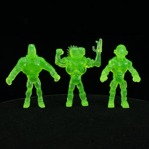 Tiki Melee T.I.K.I. Series 2 figures, Set of 3, Glow In the Dark Green