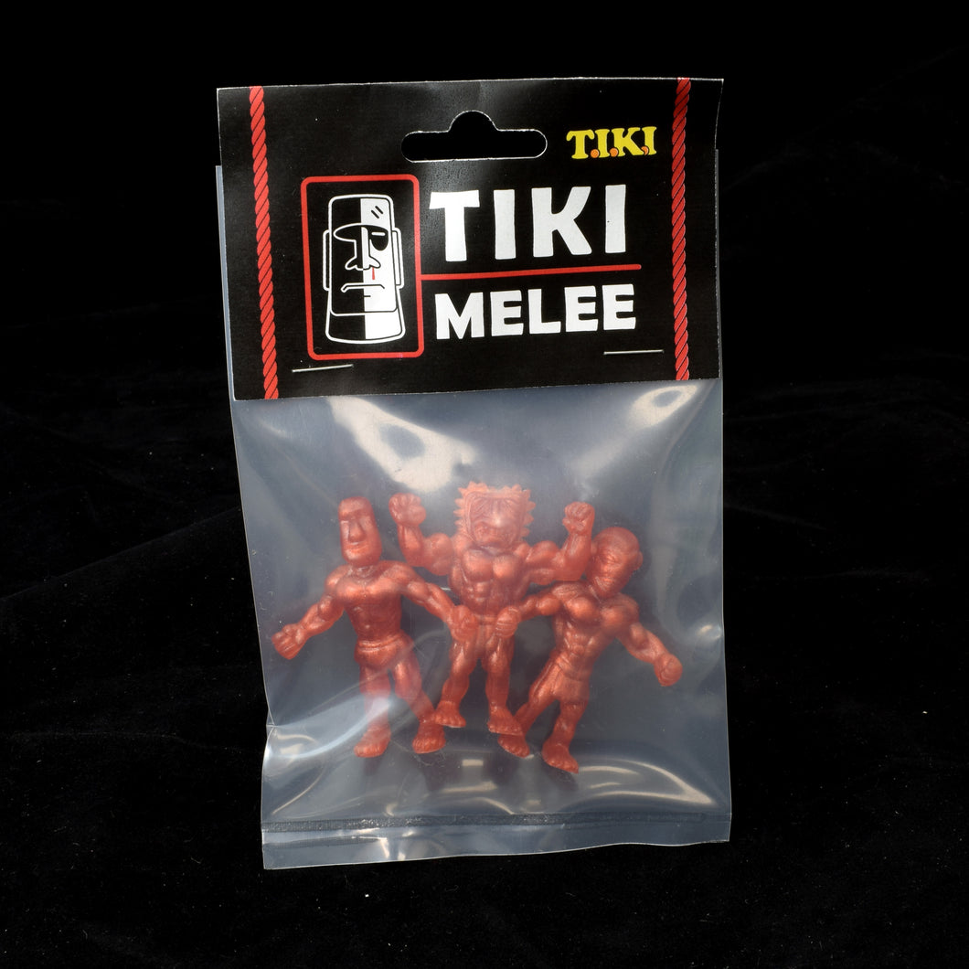 Tiki Melee T.I.K.I. figures One Off, Set of 3, Metallic Copper Pearl