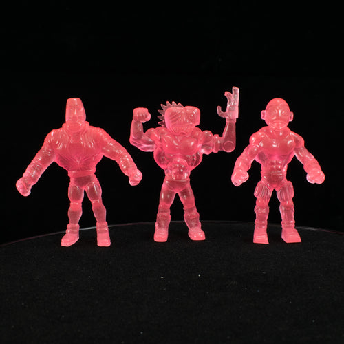 Tiki Melee T.I.K.I. Series 2 figures, Set of 3, Glow in the Dark Pink