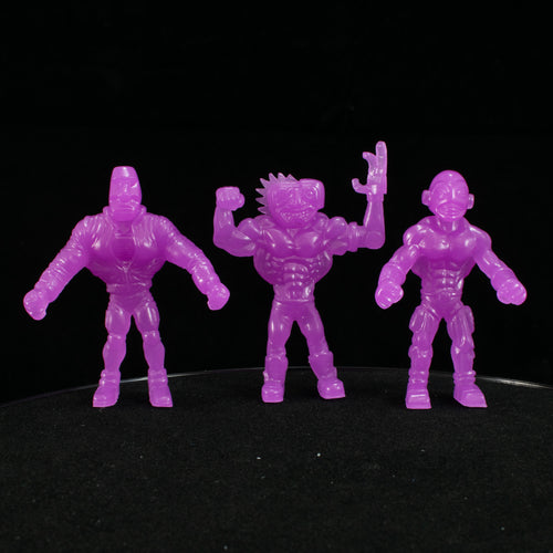 Tiki Melee T.I.K.I. Series 2 figures, Set of 3, Glow in the Dark Purple