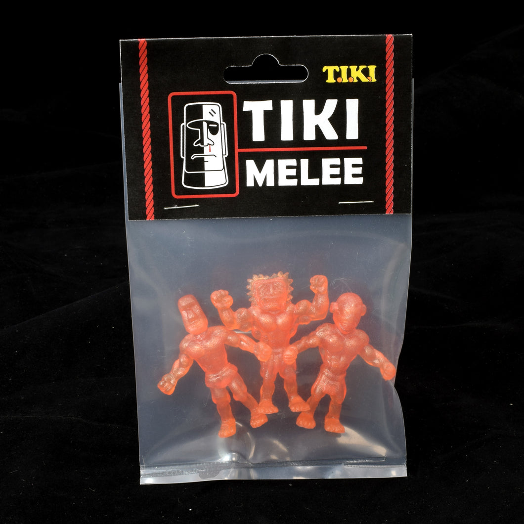 Tiki Melee T.I.K.I. figures One Off, Set of 3, Orange Macro Pearl
