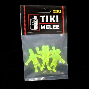 Tiki Melee T.I.K.I. figures One Off, Set of 3, NEON Yellow