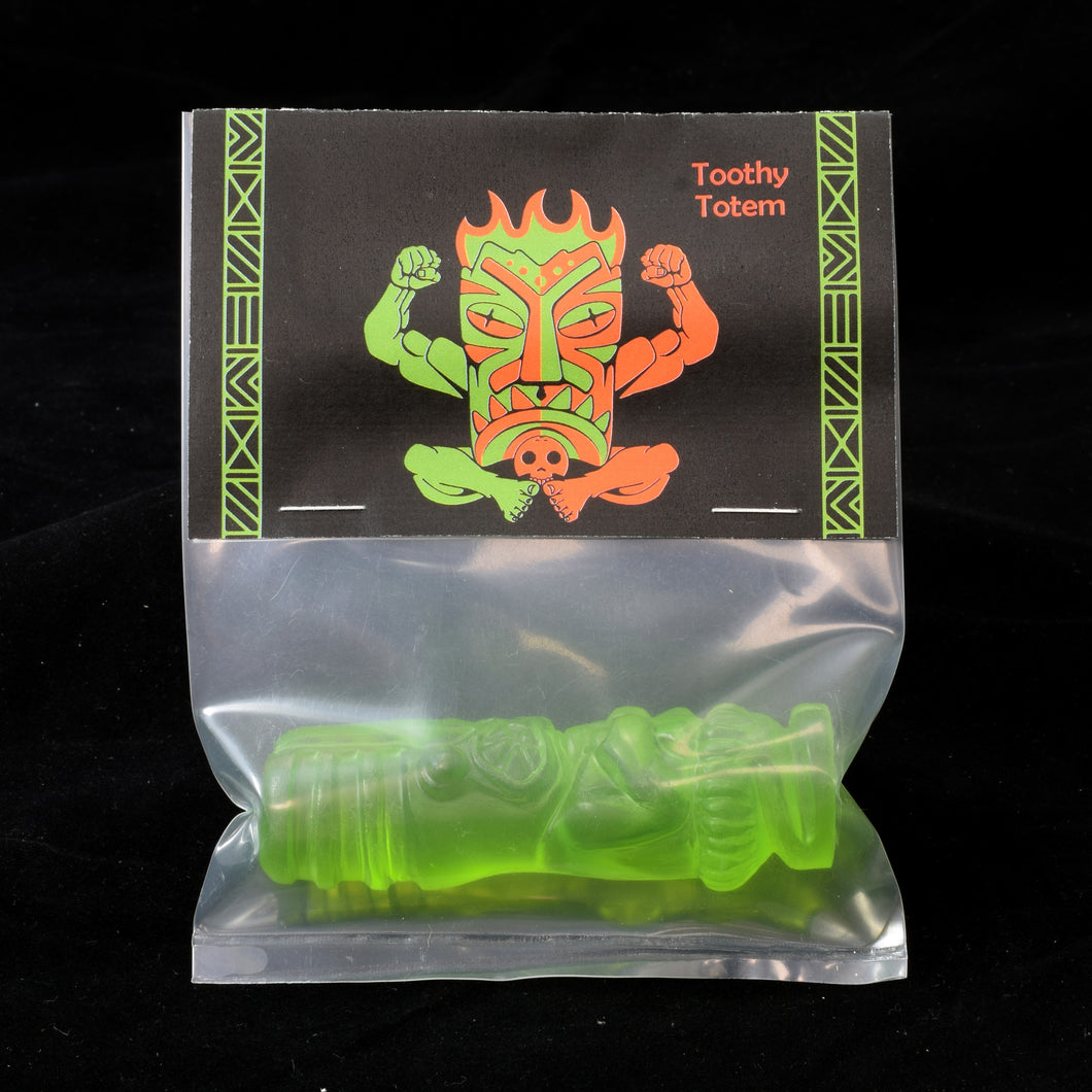 Toothy Tiki Totem Minifigure One Off, Translucent Green