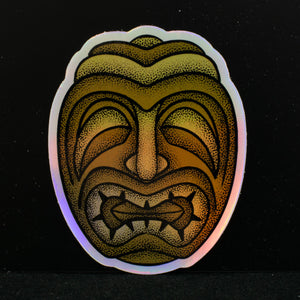 Holographic Tiki Face Sticker