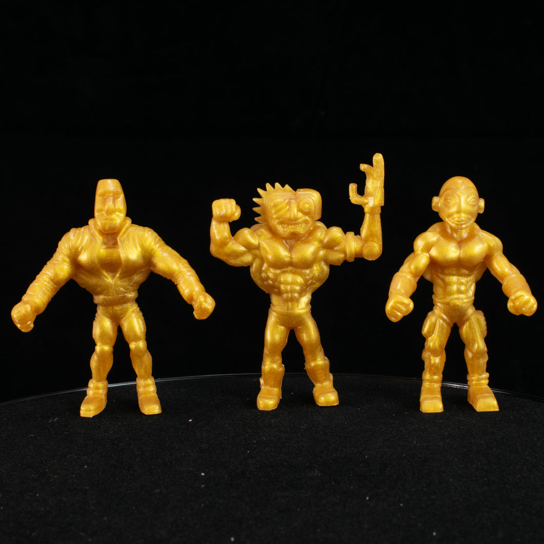 Tiki Melee T.I.K.I. Series 2 figures, Set of 3, Yellow Gold