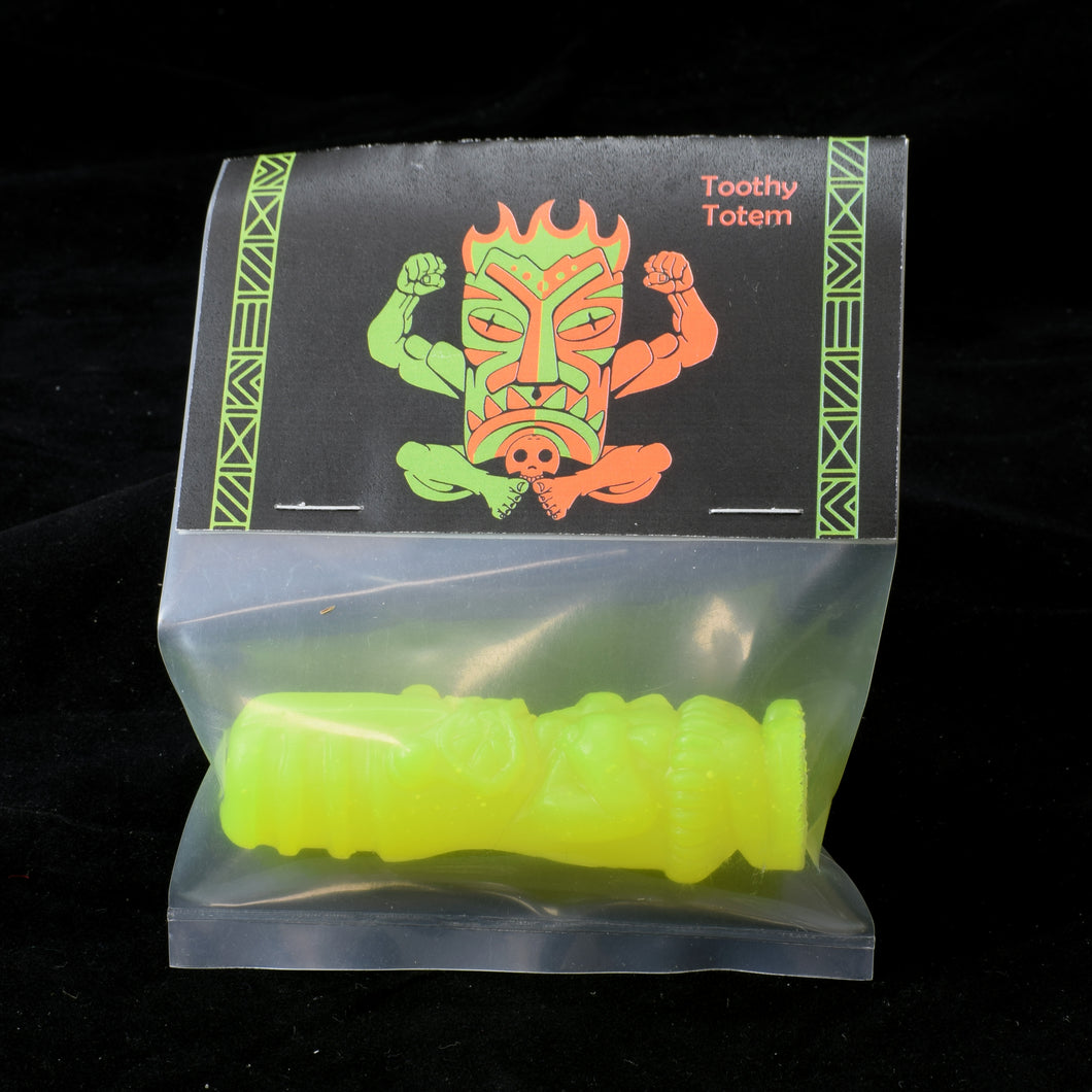 Toothy Tiki Totem Minifigure One Off, Fluorescent Yellow