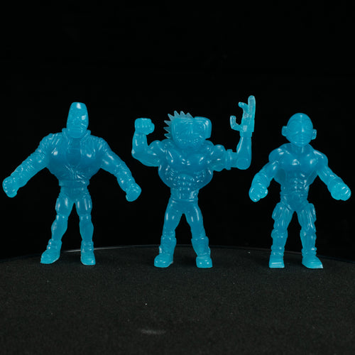 Tiki Melee T.I.K.I. Series 2 figures, Set of 3, Glow In the Dark Ice Blue