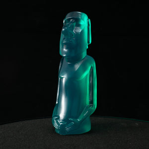 Mini Moai Figure, Baja Blue Crystal
