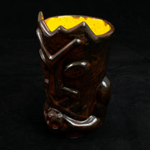 Load image into Gallery viewer, Terrible Tiki Mug, Gloss Black and Red with Yellow Speckle