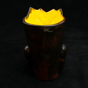 Terrible Tiki Mug, Gloss Black and Red with Yellow Speckle