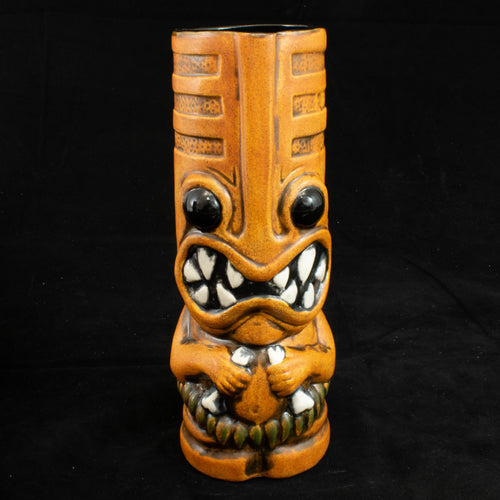 Toothy Tiki Mug, Orange Wipe Away with Black Interior Glaze